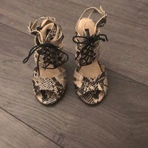 Hardly Worn Shoemint Faux Snakeskin Heeled Sandals